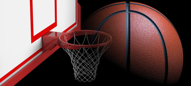 Goal of Basketball and Brown-Black line Basketball. 3D illustration. 3D CG. 3D high quality rendering.