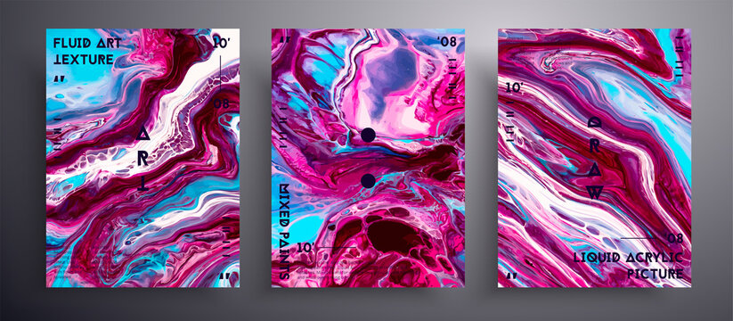 Abstract liquid banner, fluid art vector texture pack.Trendy background that can be used for design cover, invitation, flyer and etc. Blue, wine, pink and white unusual creative surface template