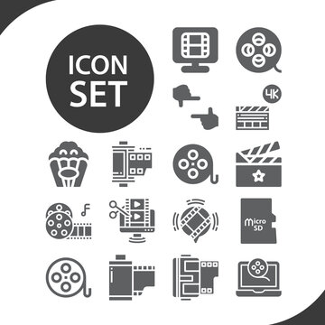Simple set of flat solid related filled icons.