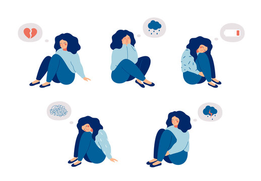 Female child or adolescent who suffers from mental health diseases is sitting on the floor with sad thoughts. Girl surrounded by symptoms of depression disorder: anxiety, crisis, tears, exhaustion, lo
