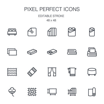 Home textiles collection of outline icons collection with linens, towel, mattress, curtain, tablecloth, blanket, carpet and others. Pixel perfect icons with editable stroke. 48 x 48.