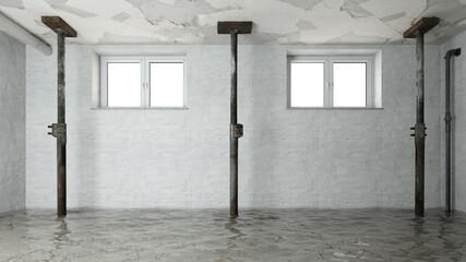 Obraz Wasserschaden nach Hochwasser im Keller mit Deckenstützen - fototapety do salonu