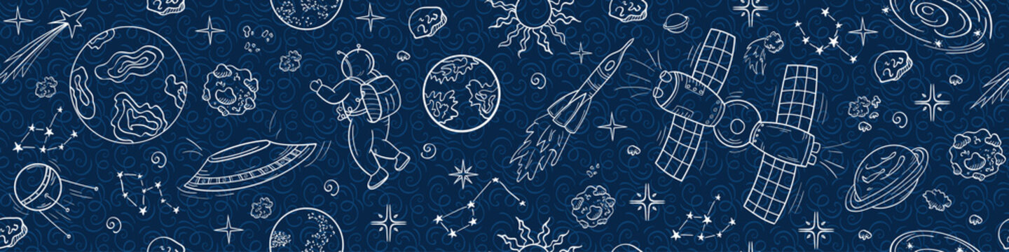 An intergalactic rocket, a flying saucer, an astronaut and a starry sky. Space texture in doodle style. Seamless vector pattern on a dark blue background. Horizontal format.