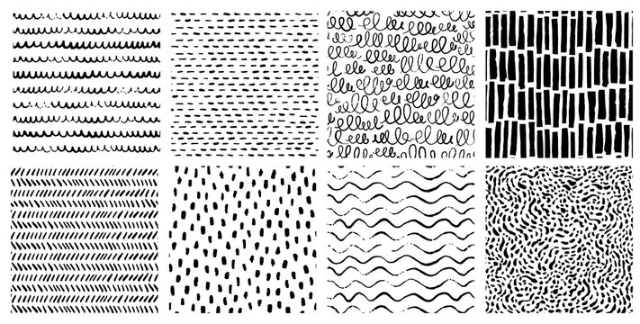 Hand drawn ink pattern and textures set. Expressive seamless abstract vector backgrounds in black and white. Trendy monochrome doodles and brush marks.