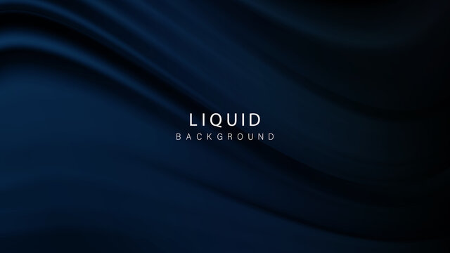 Navy blue background abstract cloth or liquid wave illustration of wavy folds of silk texture material.Vector background