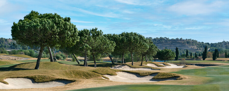 Golf course in Las Colinas, panoramic image, Spain