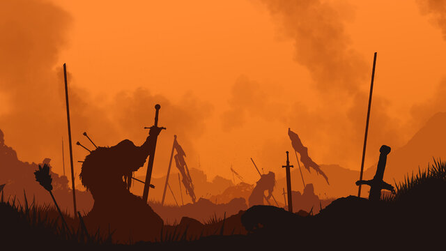 End of the battle. The fallen warrior holds a sword in his hand. A bloody sunset is behind him. The weapon is stuck in the ground. Smoke rises into the sky. 2D illustration.