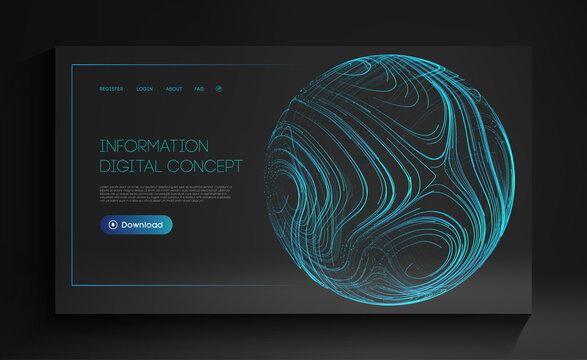Information digital concept. Futuristic technology vector illustration. Artificial intelligence tech background. Blue sphere shield on dark.