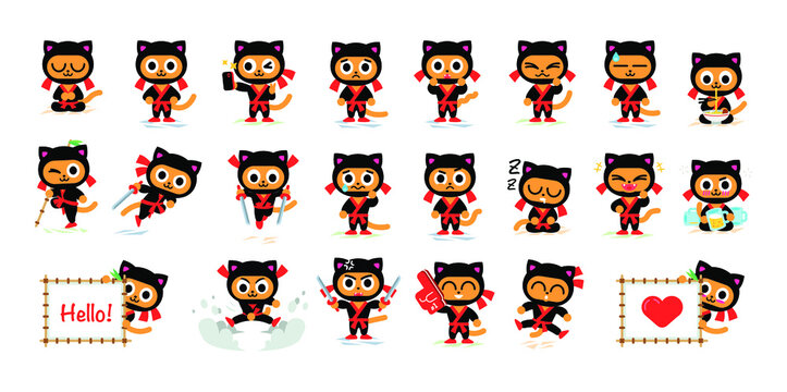 Ninja Kitty mascot in 22 different poses