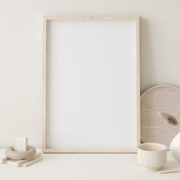 Mock up frame close up in home interior background ,Boho style, 3d render