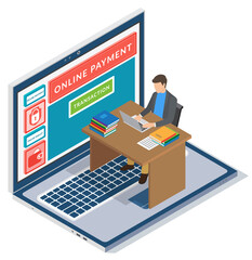 Wall Mural - Mobile payment or money transfer with laptop concept. E-commerce market shopping online isometric illustration. Businessman using easy online payment service sitting at a table with computer