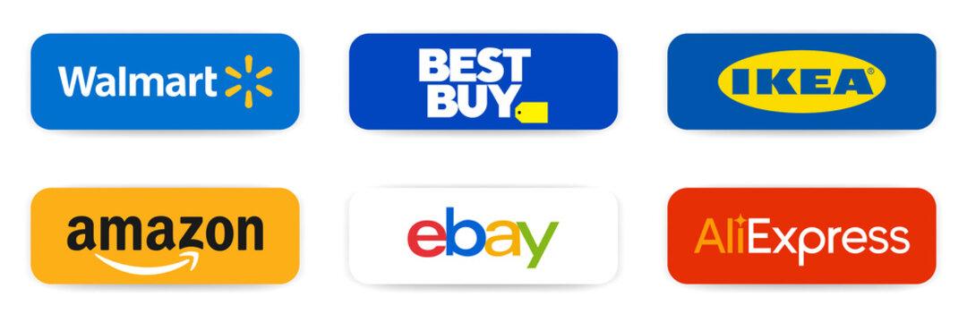 Famous online platform. Walmart, BestBuy, Ikea, Amazon, Ebay, AliExpress. Top popular shop logos. Editorial vector illustration. Walmart, eBay, Amazon icons. Rivne, Ukraine - February 10, 2021