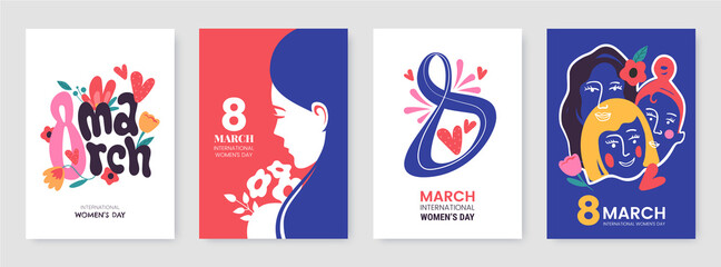 International Women's Day greeting card collection in different styles. 8 March posters design with lettering, womens, flowers and decorative elements. Ideal for print, postcard, social media, promo.