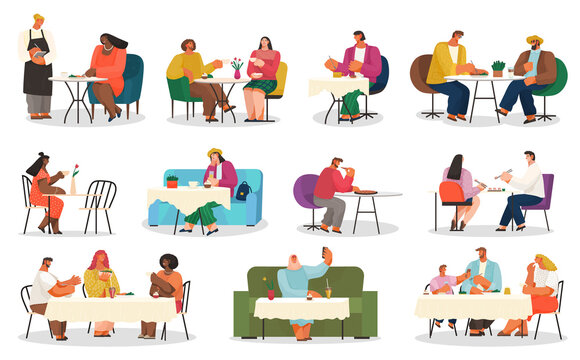 Coffee house or cafe, eating out, customers on chairs and couches vector. Couple on date, business lunch, arab woman taking selfie, friends meeting. Waiter taking order, coffee break illustration