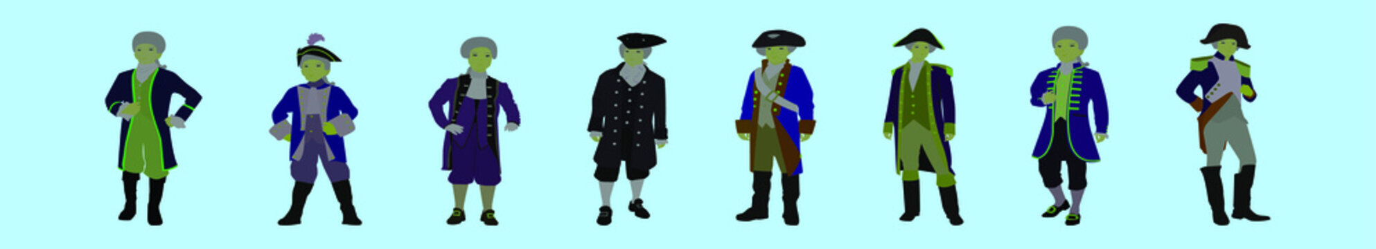 set of colonial cartoon icon design template with various models. vector illustration isolated on blue background
