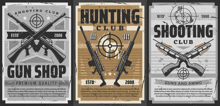Gun and weapon target retro posters of vector hunting and shooting sport design. Hunter rifles, shotguns and crossbows, carbines with telescopic sights, bullets, cartridges and hunting trophy animals
