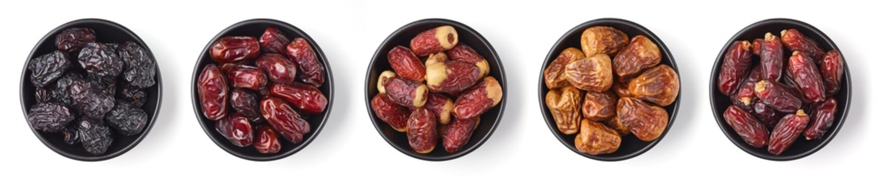 Mixed dates on white background, from above