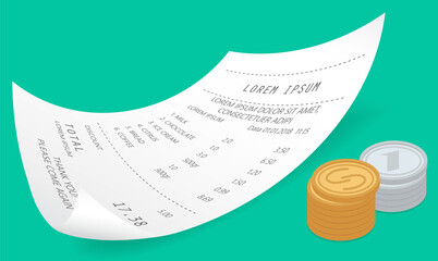 Wall Mural - Payment check paper document near a pile of gold coins isometric vector on green background. Receipt, buying financial invoice bill purchasing calculate pay. Cash, money, buying and selling concept