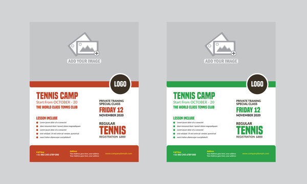 Tennis Flyer Template Design fully editable
