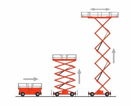 Set of scissors lifting platform isolated on white background. Hydraulic lift. Vector illustration.