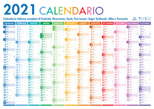 2021 Italian Planner Calendar with Vertical Months on white background