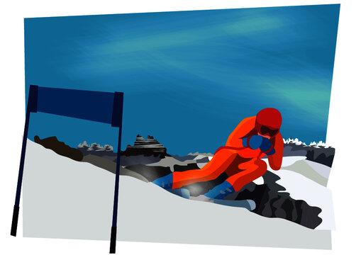 sciatore sulle dolomiti