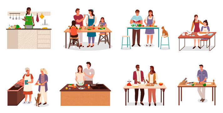 Collection of people in kitchen preparing food. Isolated set of couples cooking together. Mom teaching daughter to bake. Granny and granddaughter making soup, bachelor at home cutting veggies vector