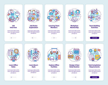 Team building activities onboarding mobile app page screen with concepts set. Task requirements walkthrough ten steps graphic instructions. UI vector template with RGB color illustrations