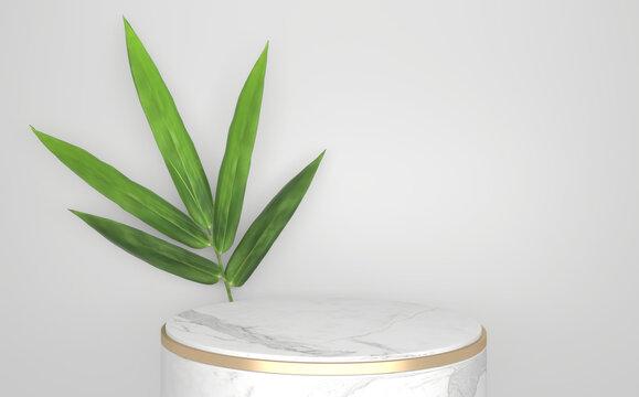 Tropical  Podium minimal geometric and bamboo japanese decoration .3D rendering