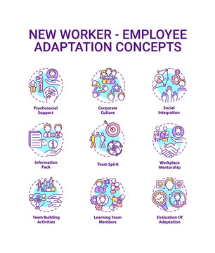 New employee adaptation concepts icons set. Process of helping workers idea thin line RGB color illustrations. Applicable and productive. Vector isolated outline drawings. Editable stroke