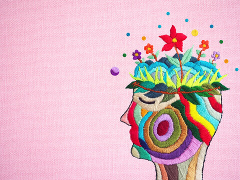 human flower head grow bloom blossom in nature abstract mind mental health spiritual brain imagine inspiring therapy meditation healing art illustration hand embroidery surreal fantasy digital collage
