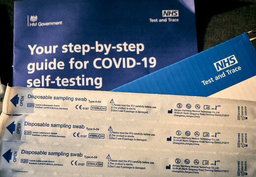 NHS Test and Trace Covid-19 Home Test Kit for Corona Virus using Swabs, London, England - 10 February 2021.