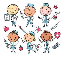 Funny cartoon doctors set, stick figure characters