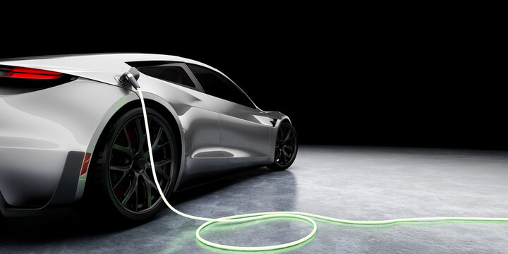 E-Mobility and ecology. Charging an electric sports car with black background. Charging battery concept. 3D rendering.