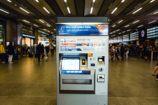 London, England-13 October,2018: Train ticket machine or train ticket vending machines at St.Pancras Terminal Station in London, UK.