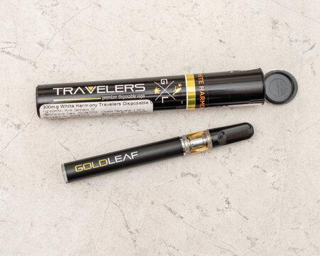 Legal, medical marijuana vape pen and its packaging