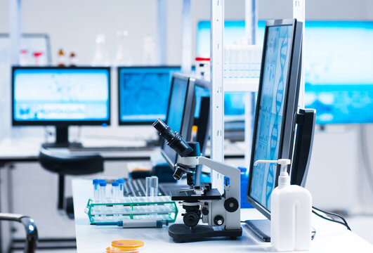 Interior of modern scientific research laboratory. Genetic engineer workplace. Future technology and science.