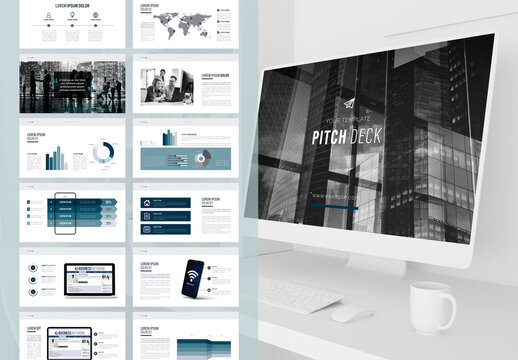 Digital Business Plan Layout with Blue Accents