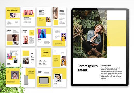 Vertical ebook Pitch Deck Fashion Portfolio Layout