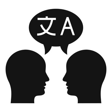 Conversation translator icon. Simple illustration of conversation translator vector icon for web design isolated on white background