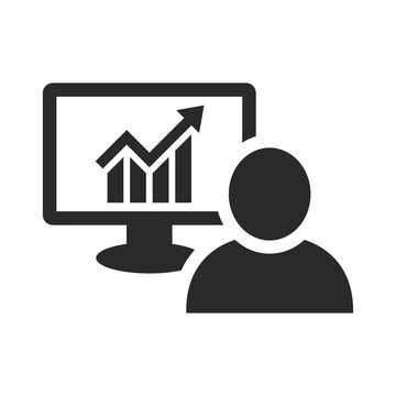 Trader icon. Online Trading. Investment. Entrepreneur. Businessman. Vector icon isolated on white background.