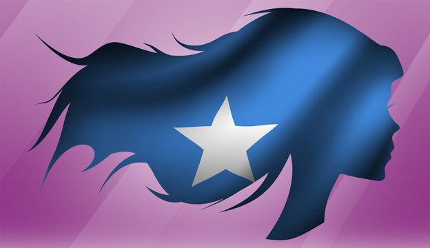 Vector beautiful woman portrait silhouette with long flowing hair in national flag of Somalia on pink background