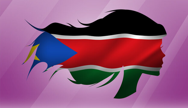 Vector beautiful woman portrait silhouette with long flowing hair in national flag of South Sudan on pink background