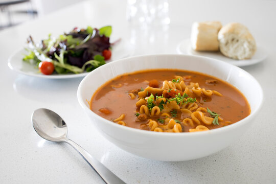 Spicy Tomato Soup and Salad