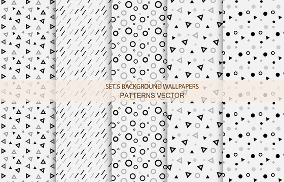 Set 5 Background Wallpapers Pattern Vector White Black Gray color Abstract style