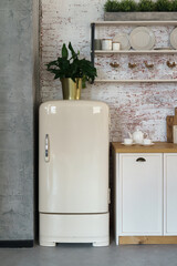 front view of retro style fridge in loft style kitchen