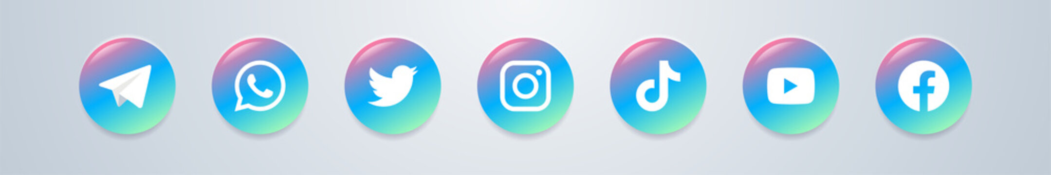 Realistic collection of popular social media logo icon set . Glossy colored Instagram , Facebook , Twitter , Youtube , TikTok , Whatsapp logotype vector