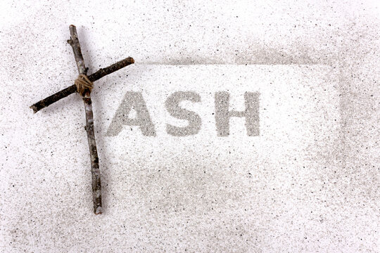 Ash Wednesday. Ash and Christian Cross symbol as a religion concept. Flat lay.