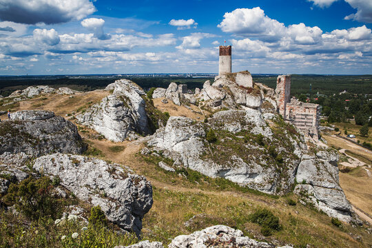 Ruins of the medieval Olsztyn castle in Poland