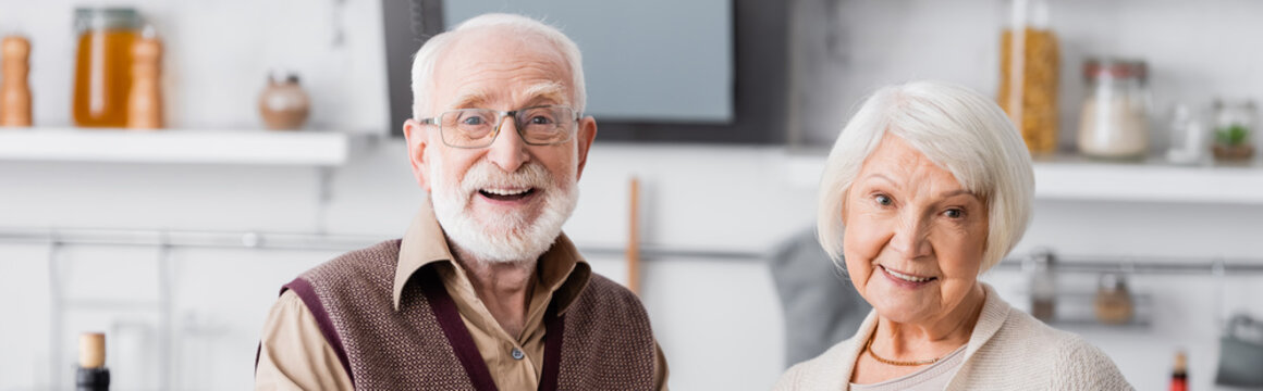 happy senior couple smiling while looking at camera, banner
